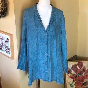 EILEEN FISHER WOMAN size 2x 100% Linen Chambray